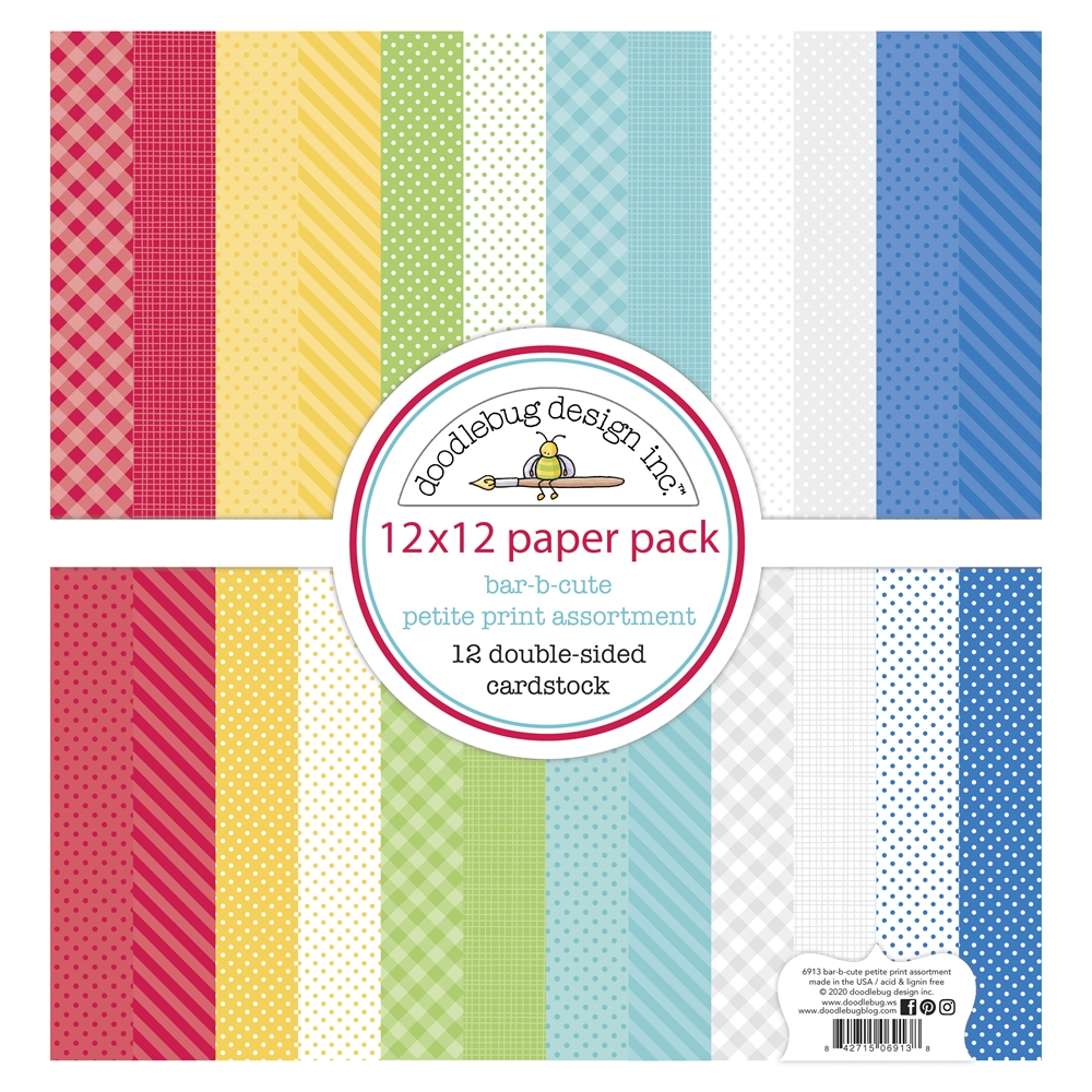 Doodlebug BAR-B-CUTE 12x12 Inch Petite Print Assortment Paper 6913 zoom image