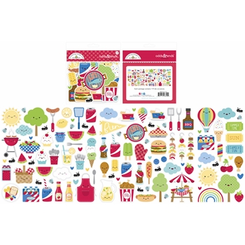 Doodlebug BAR-B-CUTE Odds and Ends Ephemera Die Cut Shapes 6809