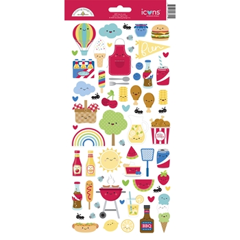 Doodlebug BAR-B-CUTE Icons Cardstock Stickers 6891