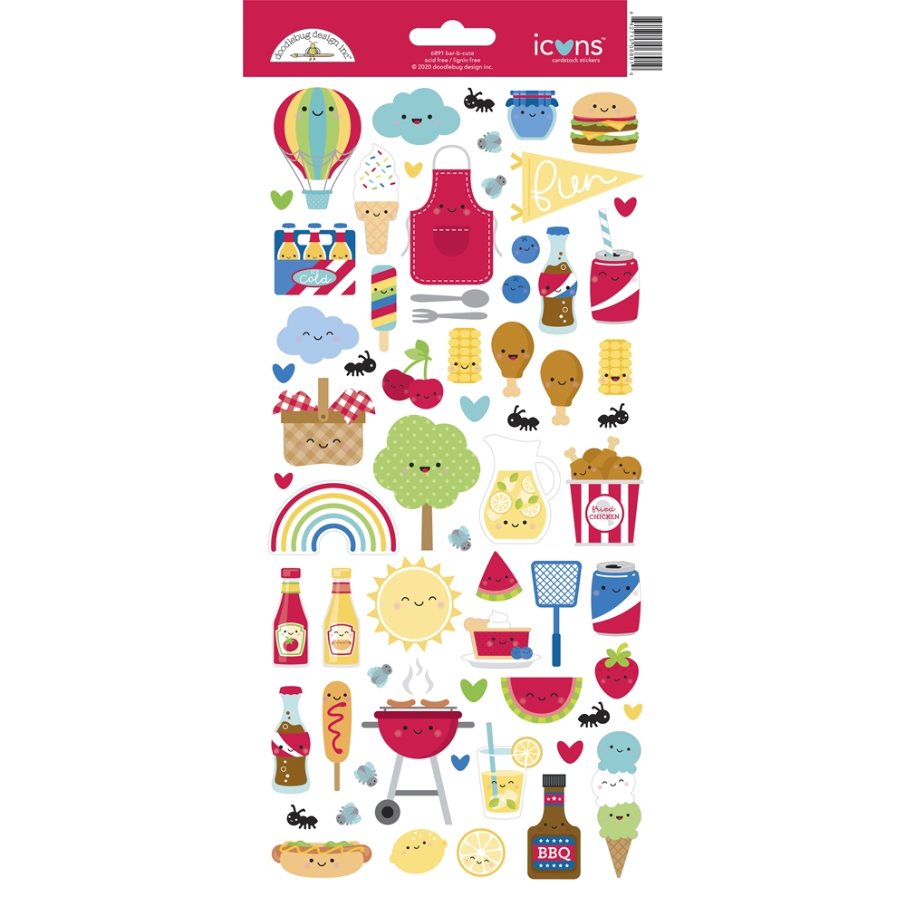 Doodlebug BAR-B-CUTE Icons Cardstock Stickers 6891 zoom image