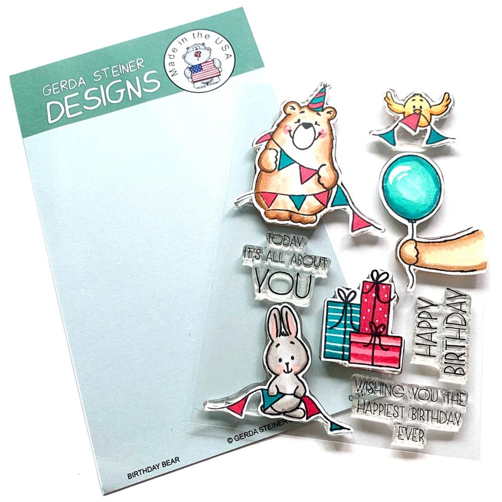 Gerda Steiner Designs BIRTHDAY BEAR Clear Stamp Set gsd732 zoom image