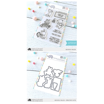 Mama Elephant Clear Stamp and Die mept798 School Rules SET