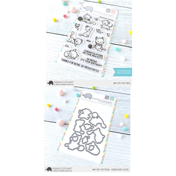 Mama Elephant Clear Stamp and Die mept801 My Pet Kitties SET