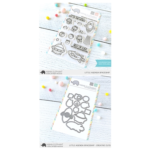 Mama Elephant Clear Stamp and Die mept807 Little Agenda Spaceship SET Preview Image