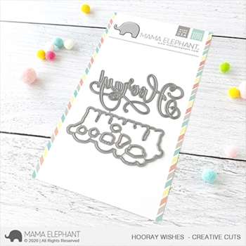 Mama Elephant HOORAY WISHES Creative Cuts Steel Dies