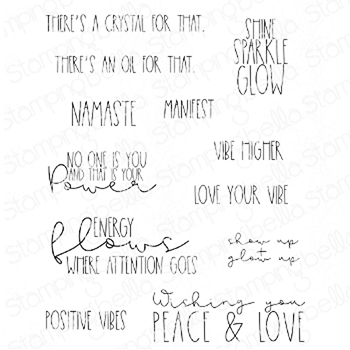 Stamping Bella Cling Stamps GOOD VIBES SENTIMENT SET eb947