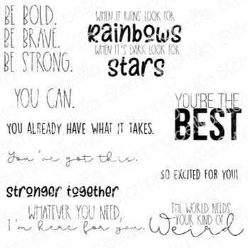 Stamping Bella Cling Stamps ENCOURAGEMENT SENTIMENT SET eb949
