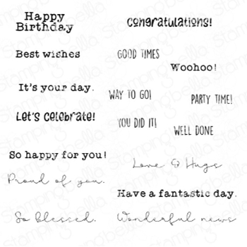 Stamping Bella Cling Stamps CELEBRATE AND CONGRATULATE SENTIMENT SET eb950