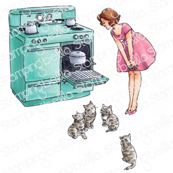 Stamping Bella Cling Stamps EDGAR AND MOLLY VINTAGE HERE KITTY SET eb960