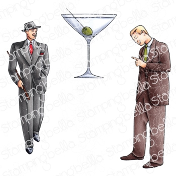 Stamping Bella Cling Stamps EDGAR AND MOLLY VINTAGE MARTINI MEN SET eb961