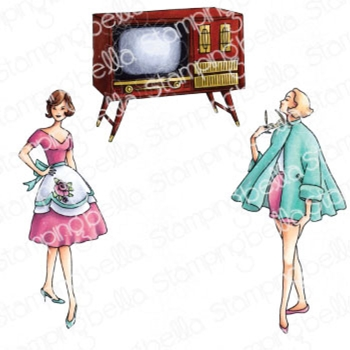 Stamping Bella Cling Stamps EDGAR AND MOLLY VINTAGE TV SET eb962