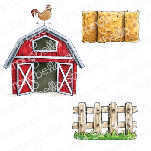 Stamping Bella Cling Stamps ODDBALL BARN, HAY AND FENCE eb967 Preview Image