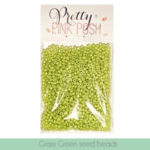 Pretty Pink Posh GRASS GREEN Seed Beads