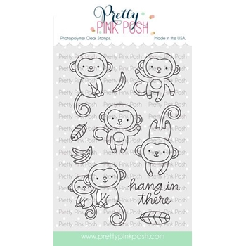 Pretty Pink Posh MONKEY FRIENDS Clear Stamps