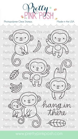 Pretty Pink Posh MONKEY FRIENDS Clear Stamps zoom image