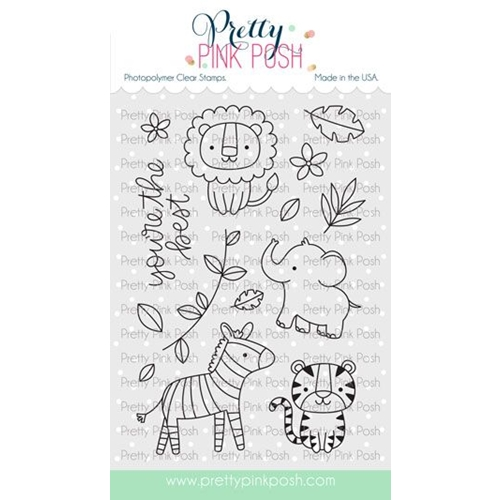 Pretty Pink Posh JUNGLE FRIENDS Clear Stamps Preview Image