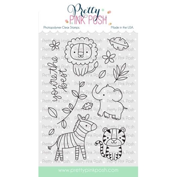 Pretty Pink Posh JUNGLE FRIENDS Clear Stamps