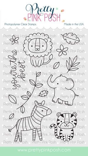 Pretty Pink Posh JUNGLE FRIENDS Clear Stamps zoom image