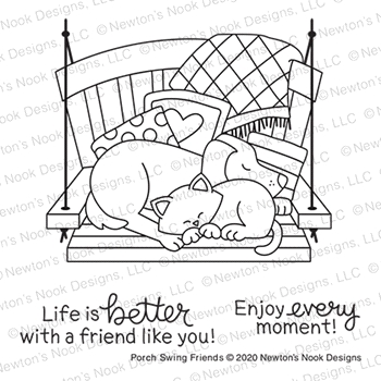 Newton's Nook Designs PORCH SWING FRIENDS Clear Stamps NN2006S05
