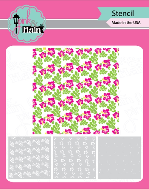 Pink and Main HIBISCUS Stencil PMS031 zoom image