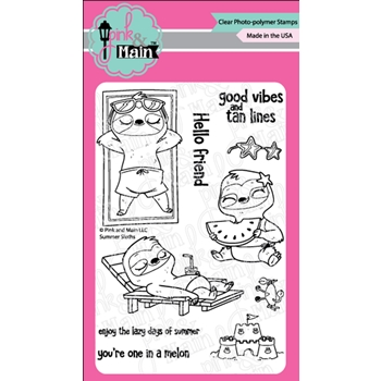 Pink and Main SUMMER SLOTHS Clear Stamps PM0409