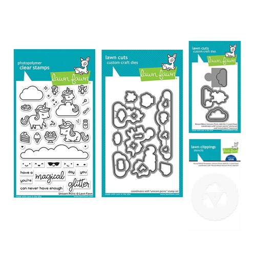 Lawn Fawn SET UNICORN PICNIC Clear Stamps and Dies Templates lfup Preview Image