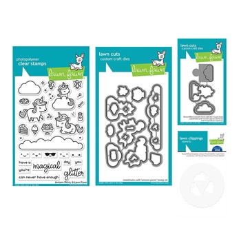 Lawn Fawn SET UNICORN PICNIC Clear Stamps and Dies Templates lfup