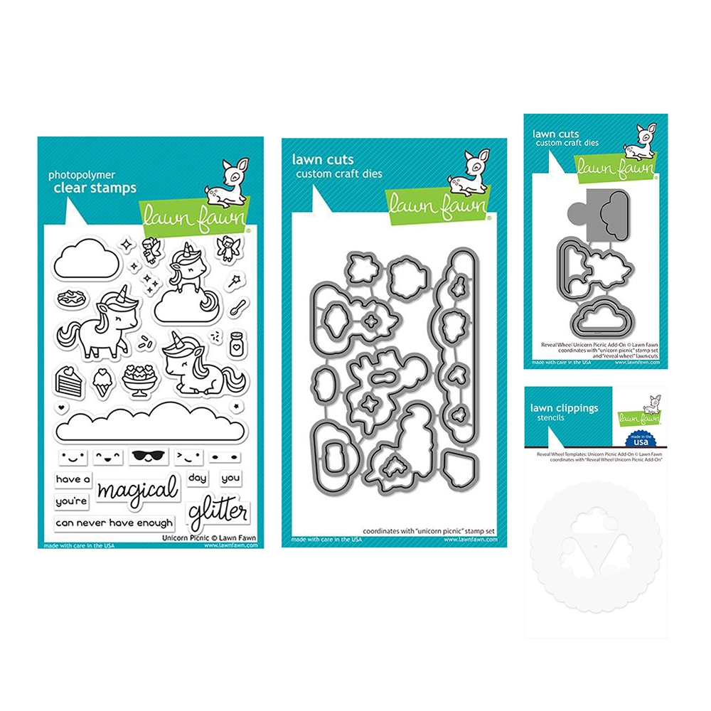 Lawn Fawn SET UNICORN PICNIC Clear Stamps and Dies Templates lfup zoom image