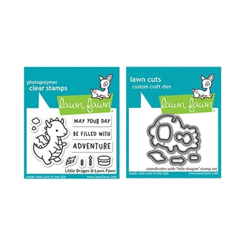Lawn Fawn SET LITTLE DRAGON Clear Stamps and Dies lfld