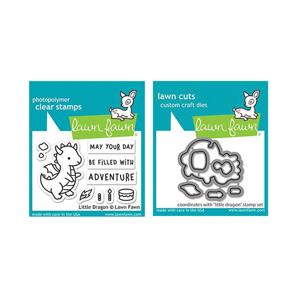 Lawn Fawn SET LITTLE DRAGON Clear Stamps and Dies lfld zoom image