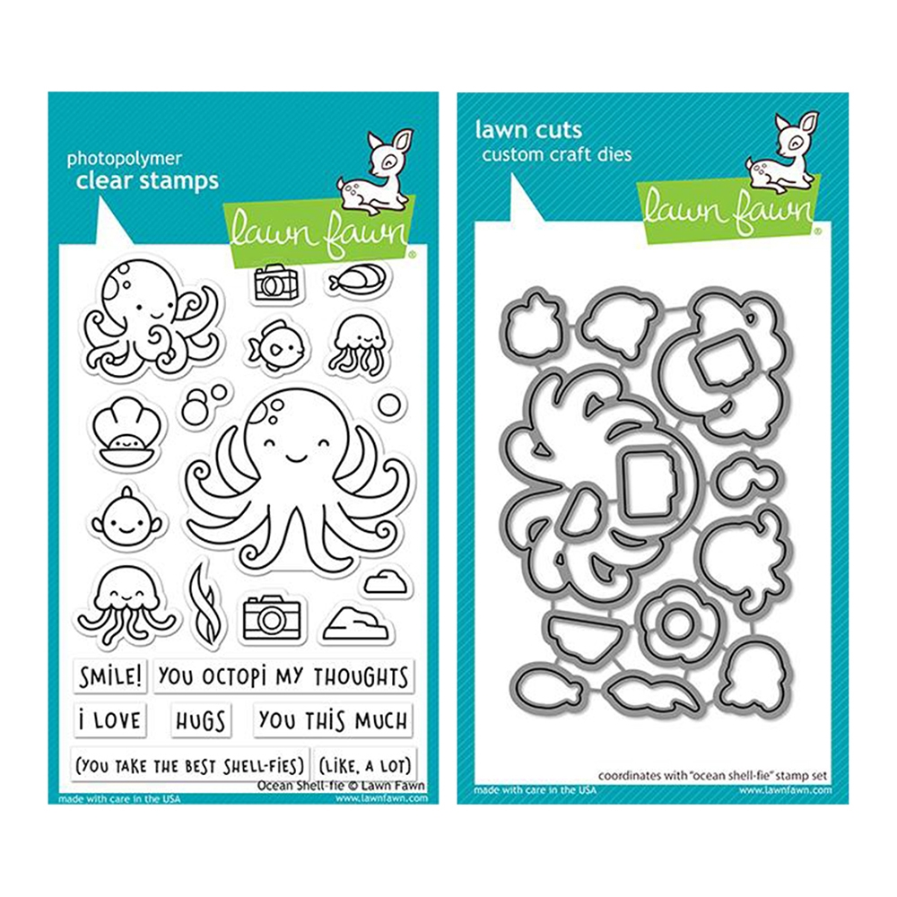 Lawn Fawn SET OCEAN SHELL-FIE Clear Stamps and Dies lfosf zoom image