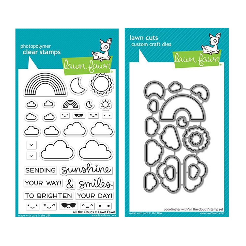 Lawn Fawn SET ALL THE CLOUDS Clear Stamps and Dies lfatc zoom image