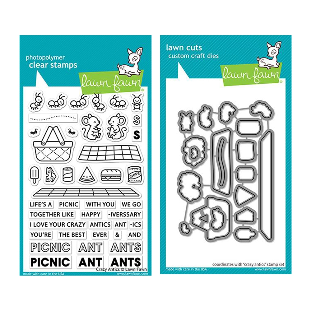 Lawn Fawn SET CRAZY ANTICS Clear Stamps and Dies lfca zoom image