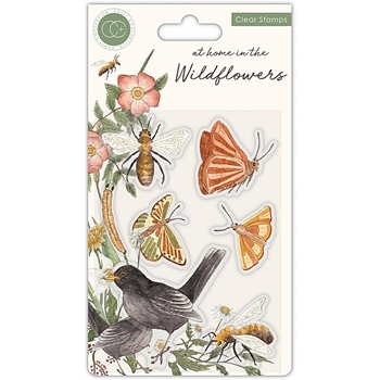 Craft Consortium AT HOME IN THE WILD FLOWERS BEES AND BUTTERFLIES Clear Stamps CCSTMP037