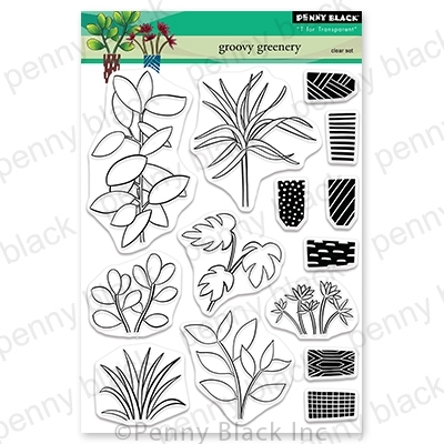 Penny Black Clear Stamps GROOVY GREENERY 30-701 zoom image