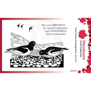 Woodware Craft Collection LINO CUT OYSTER CATCHERS Clear Stamps jgs722