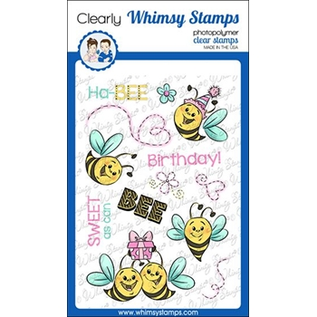 Whimsy Stamps HAP BEE BIRTHDAY Clear Stamps KHB161