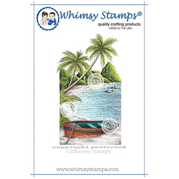 Whimsy Stamps TROPICAL COVE Cling Stamp DA1143