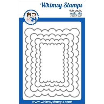 Whimsy Stamps FA DOODLE FRAMES SCALLOPED RECTANGLE Dies WSD467