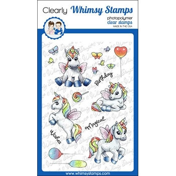 Whimsy Stamps UNICORN WISHES Clear Stamps C1358