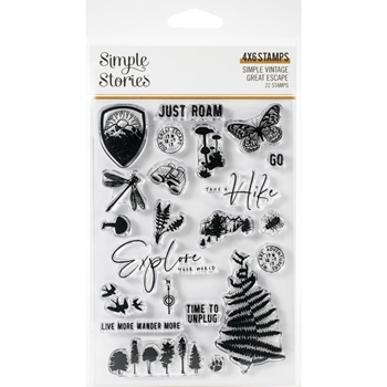 Simple Stories GREAT ESCAPE Clear Stamp Set 13222