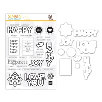 RESERVE CZ Design Stamps and Dies HAPPY DAYS set386hd Send Happiness