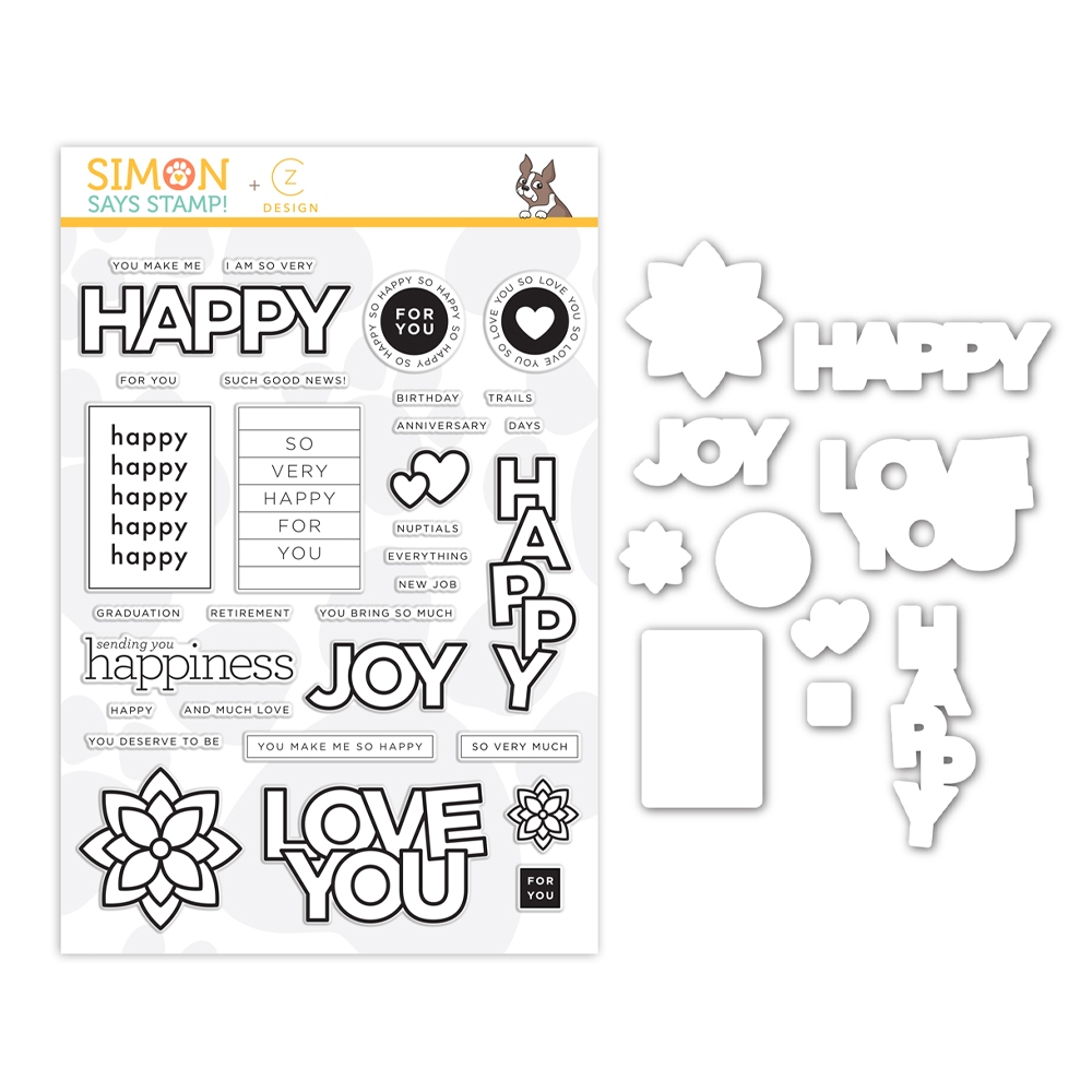 CZ Design Stamps and Dies HAPPY DAYS set386hd Send Happiness zoom image