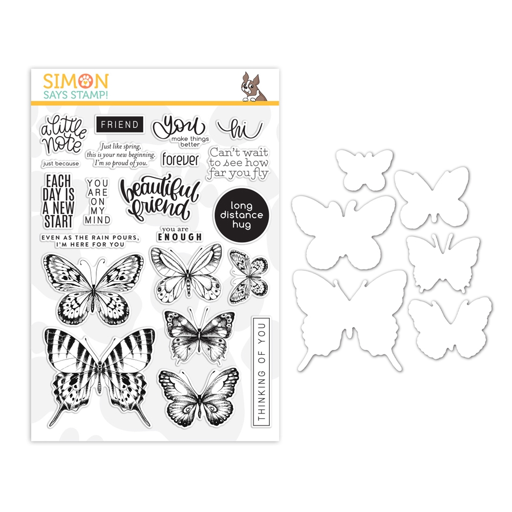 Simon Says Stamps and Dies BEAUTIFUL BUTTERFLIES set382bb Send Happiness zoom image