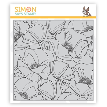Simon Says Cling Stamp POPPIES BACKGROUND sss102138 Send Happiness