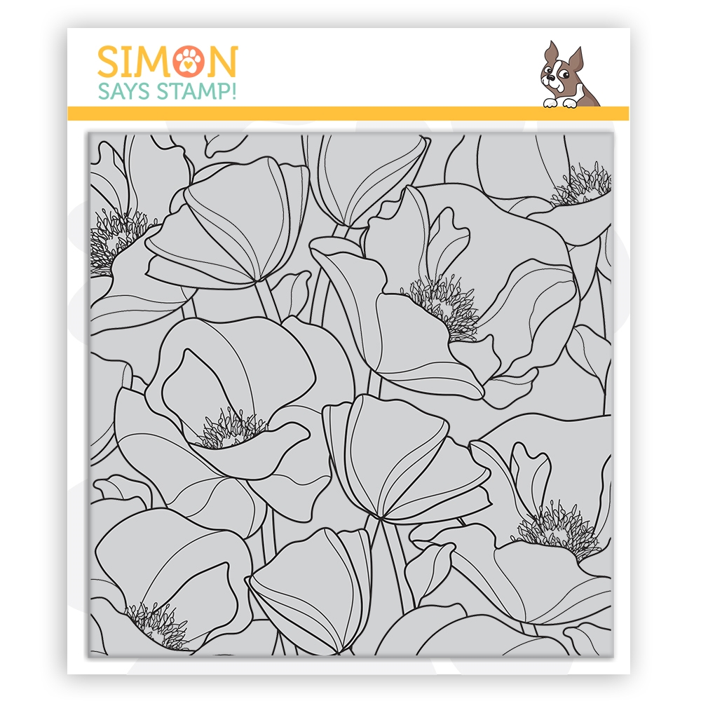 RESERVE Simon Says Cling Stamp POPPIES BACKGROUND sss102138 Send Happiness zoom image
