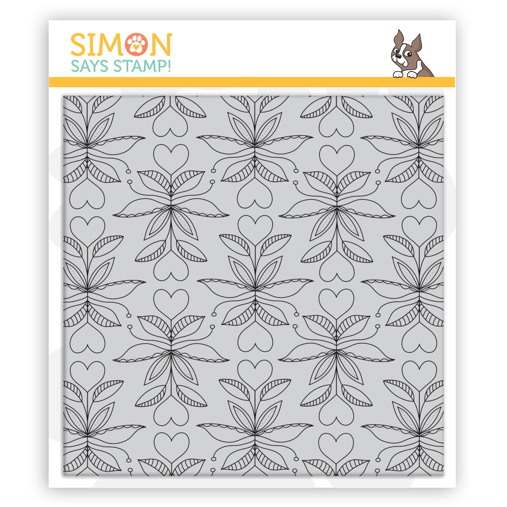 Simon Says Cling Stamp FOLK HEART BACKGROUND sss102145 Send Happiness zoom image