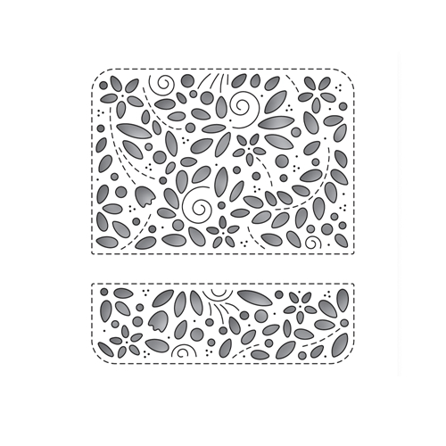 Simon Says Stamp FILIGREE MESSAGE ROUNDED RECTANGLE Wafer Die s682 Send Happiness Preview Image
