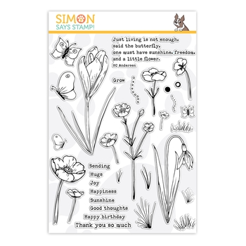 Simon Says Clear Stamps THOUGHTFUL FLOWERS sss202164 Send Happiness