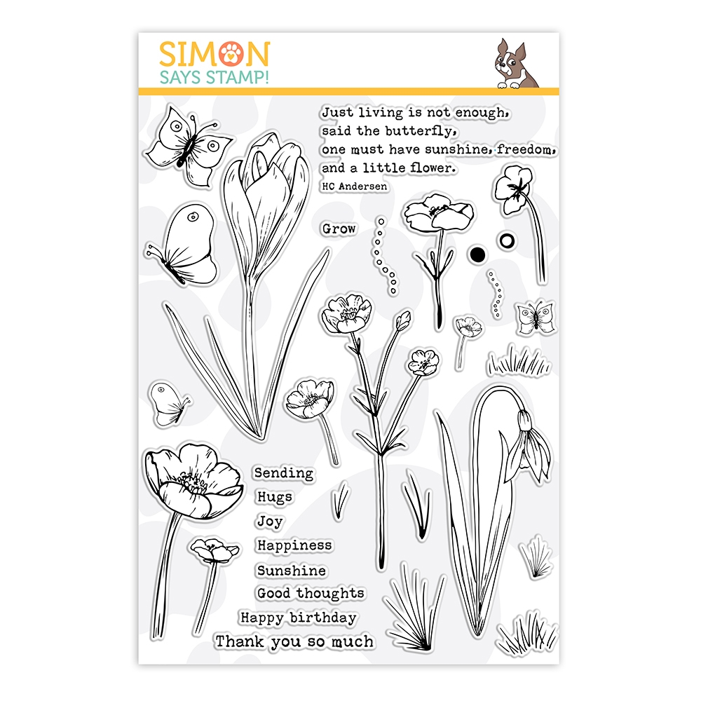 Simon Says Clear Stamps THOUGHTFUL FLOWERS sss202164 Send Happiness zoom image